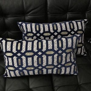 (4) Callisto Home Pillows Large Four Beaded Velvet